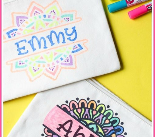 Color your own fabric stencil on a zipper pouch