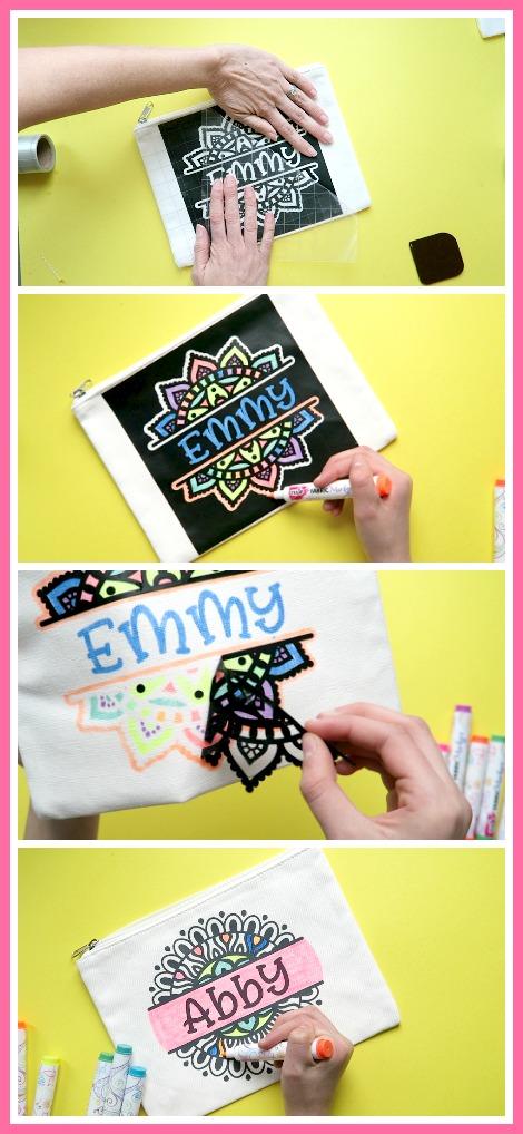Fabric marker stencil craft idea