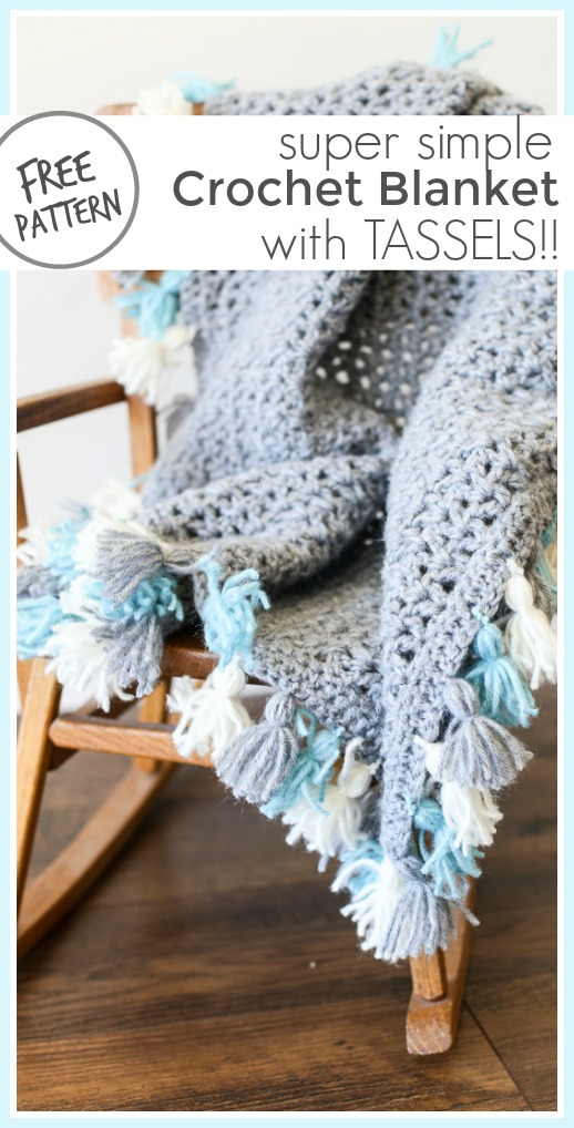 Simple crochet blanket free pattern with tassels