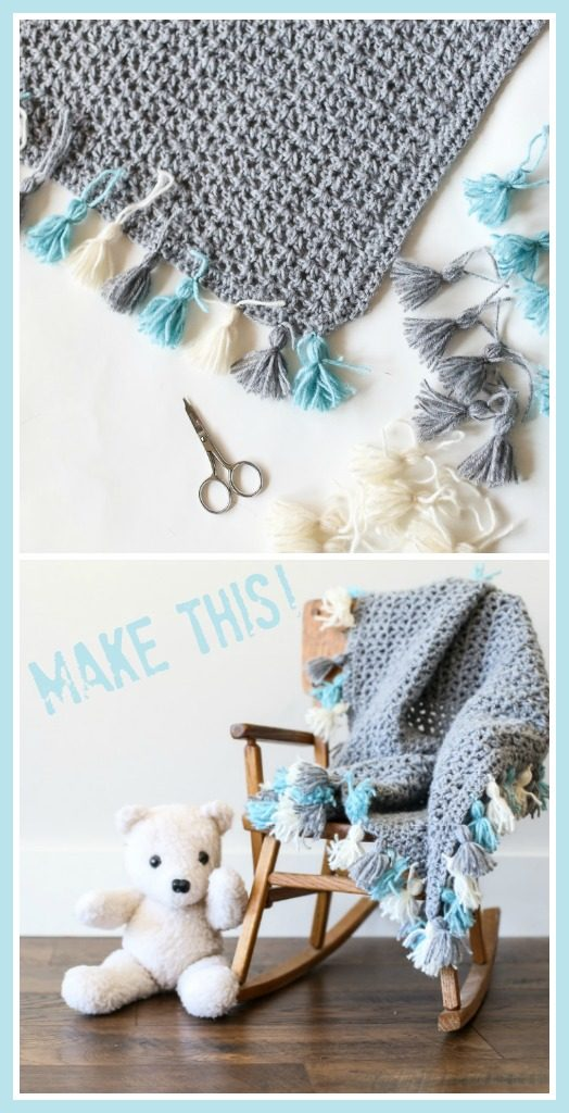 Tassel edge crochet blanket