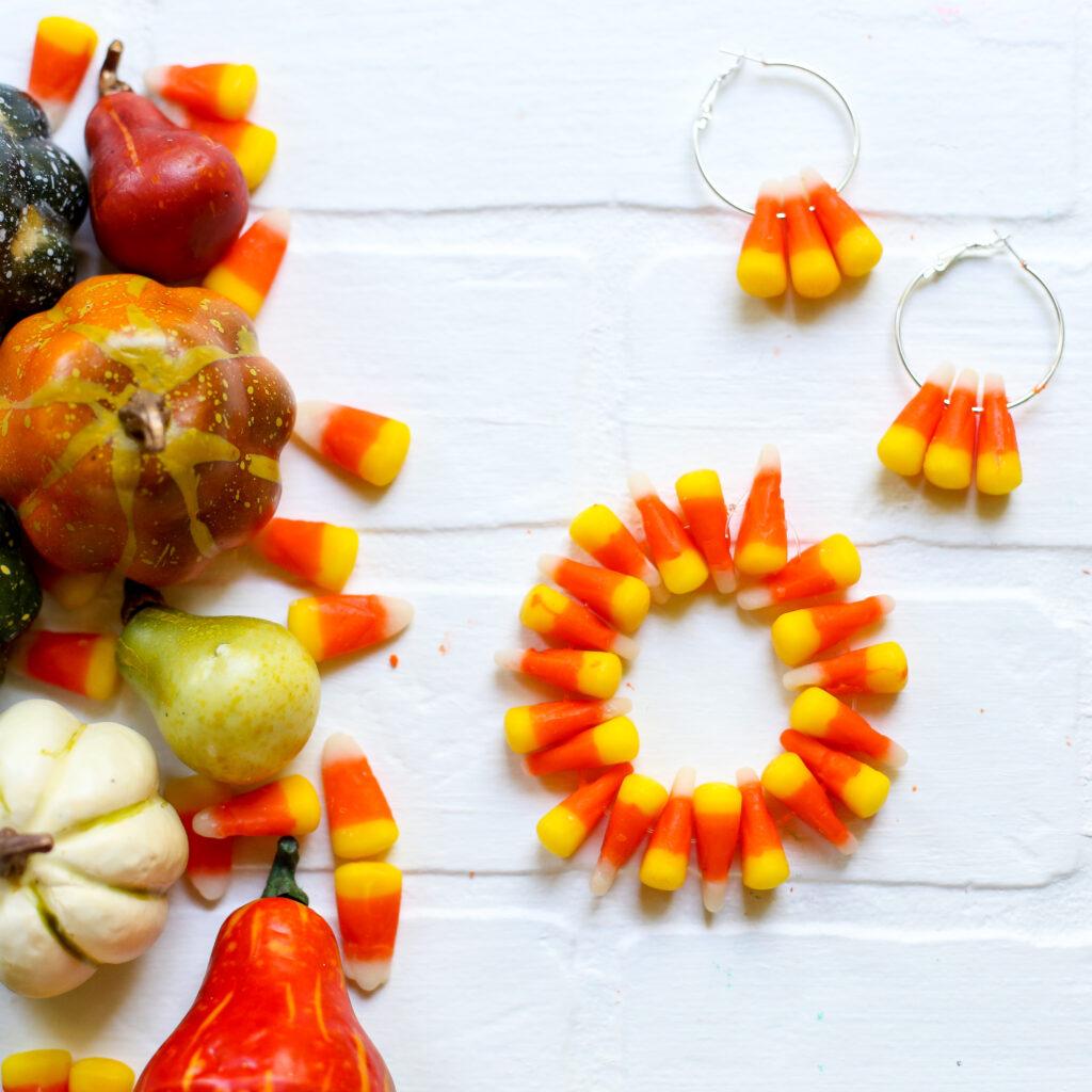 Candy Corn Bracelet and Earrings Jewelry Craft Idea