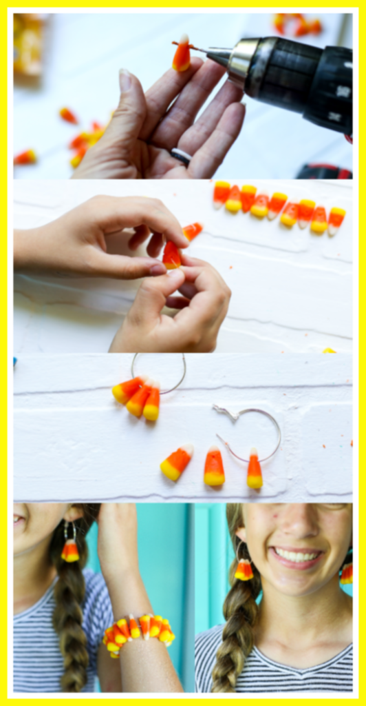 Candy corn fall craft earrings bracelet idea
