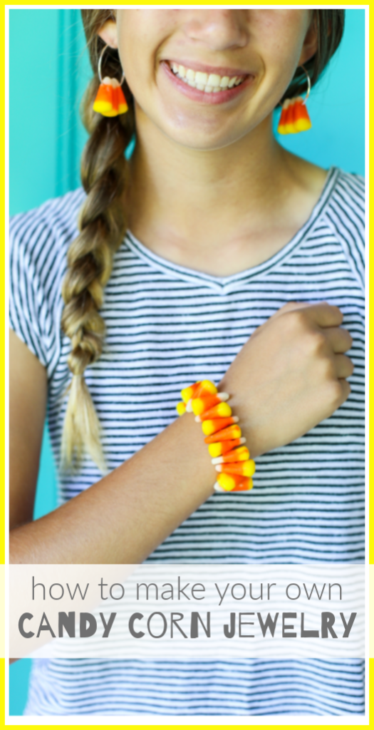 Candy corn jewelry fall craft idea