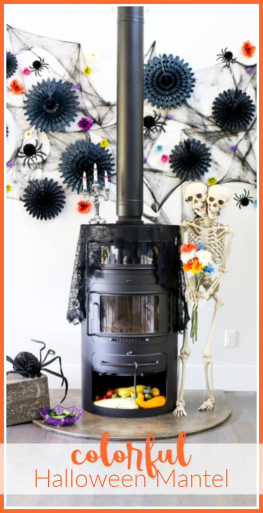 Colorful halloween mantel decor idea