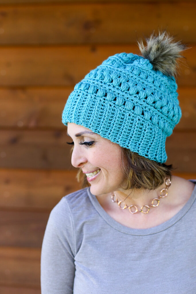 Crochet beanie hat snow drop 1