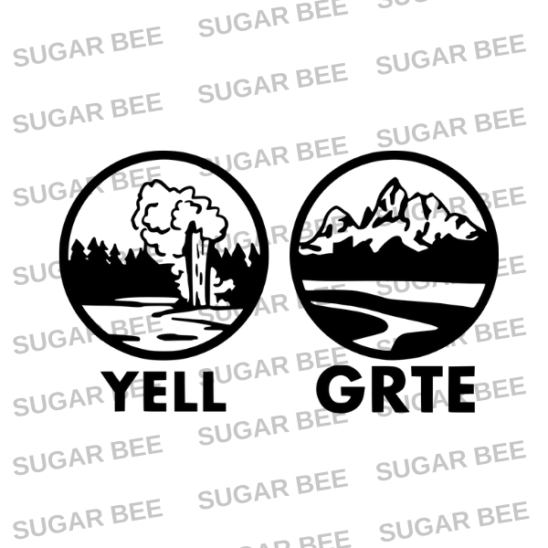 Yellowstone and grand teton national park logo sticker cutfile
