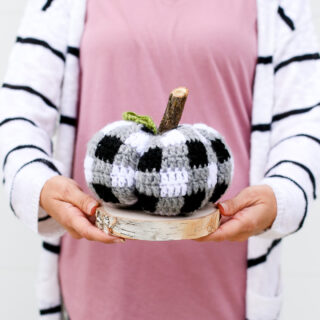Buffalo plaid crochet pumpkin 2