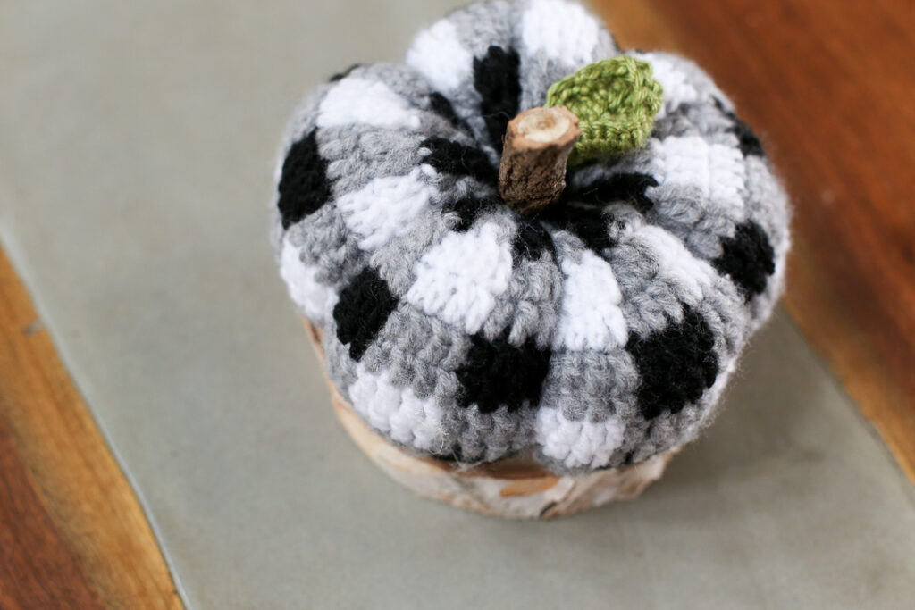 Buffalo plaid crochet pumpkin 6