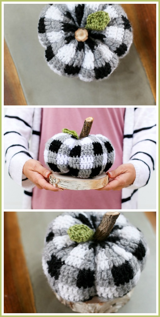 Crochet plaid pumpkin pattern