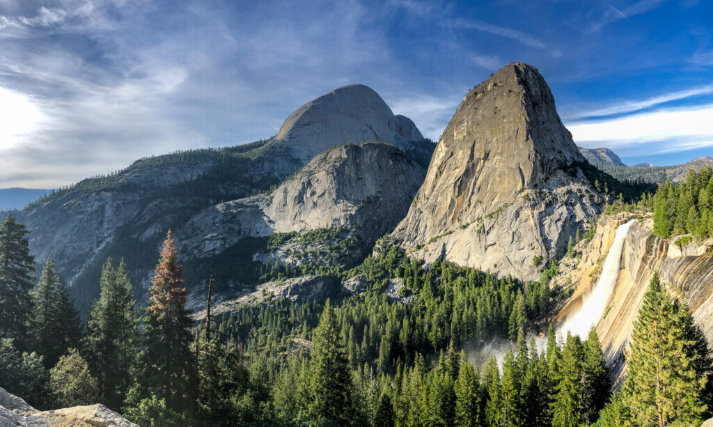 view of nevada fall liberty cap and half dome