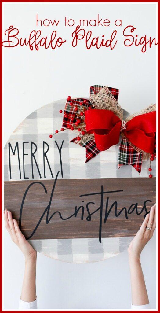 Plaid merry christmas diy craft sign