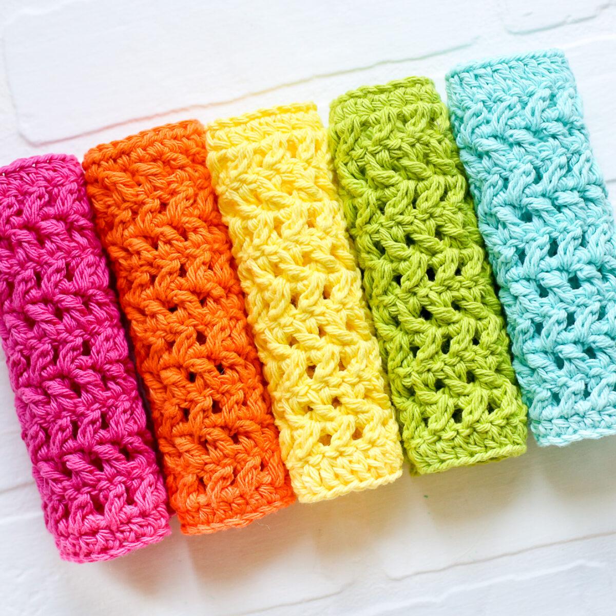 Crochet Dishcloth Herringbone Pattern Sugar Bee Crafts