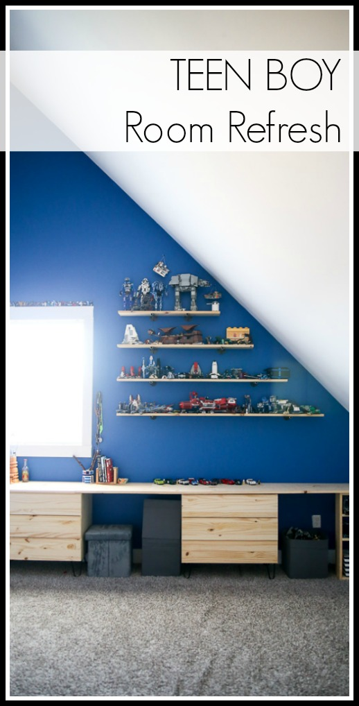 Teen boy room shelf idea
