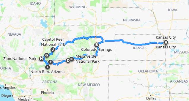 9 day southwest roadtrip map