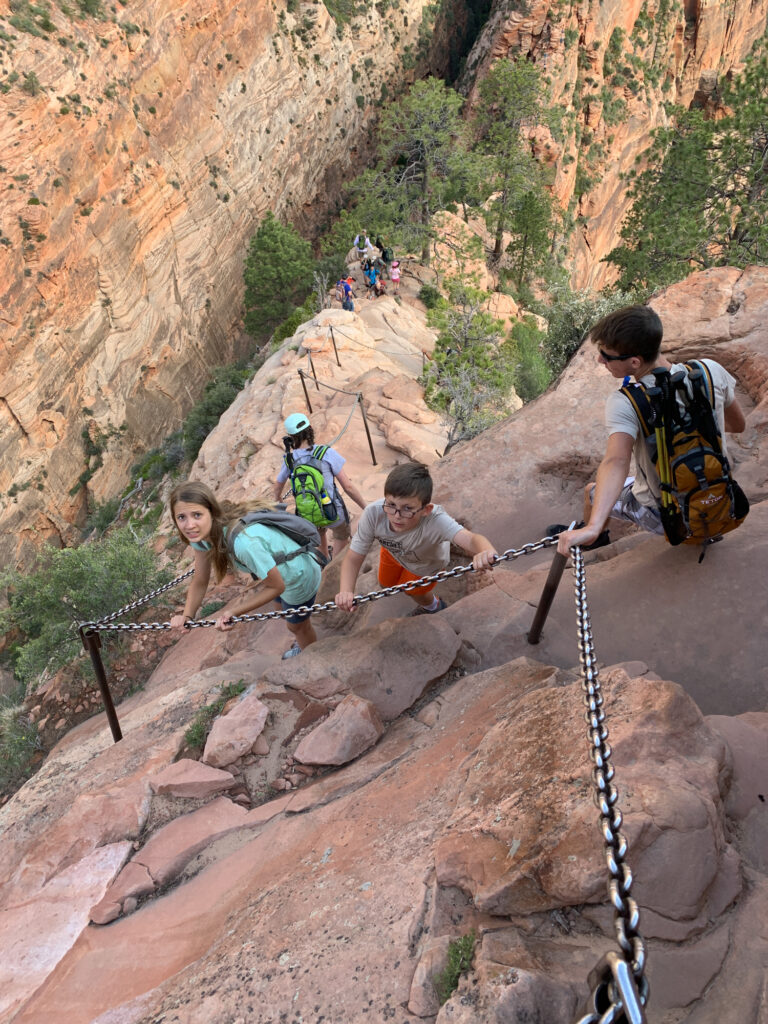 hiking angels landing with kids