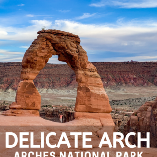 Delicate arch family hike sunset