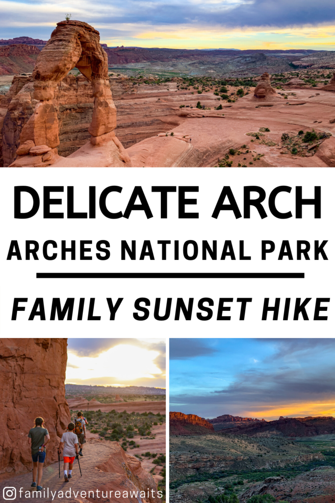 Delicate arch family sunset hike