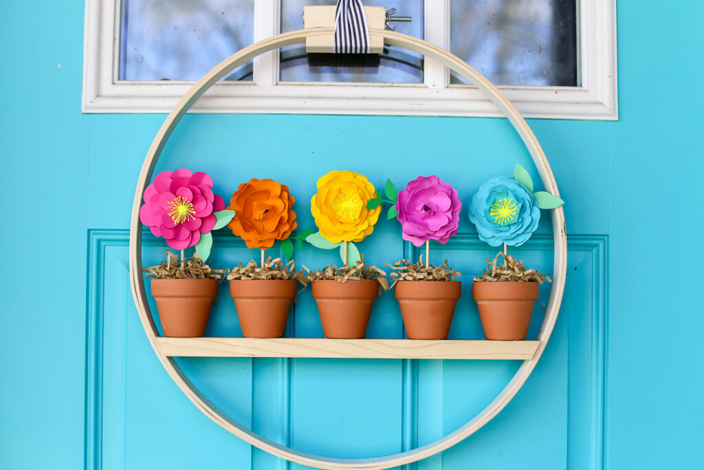 Mini flower pot wreath craft idea 12