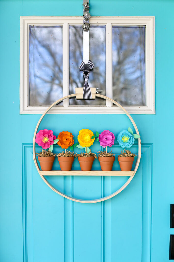 Mini flower pot wreath craft idea 7