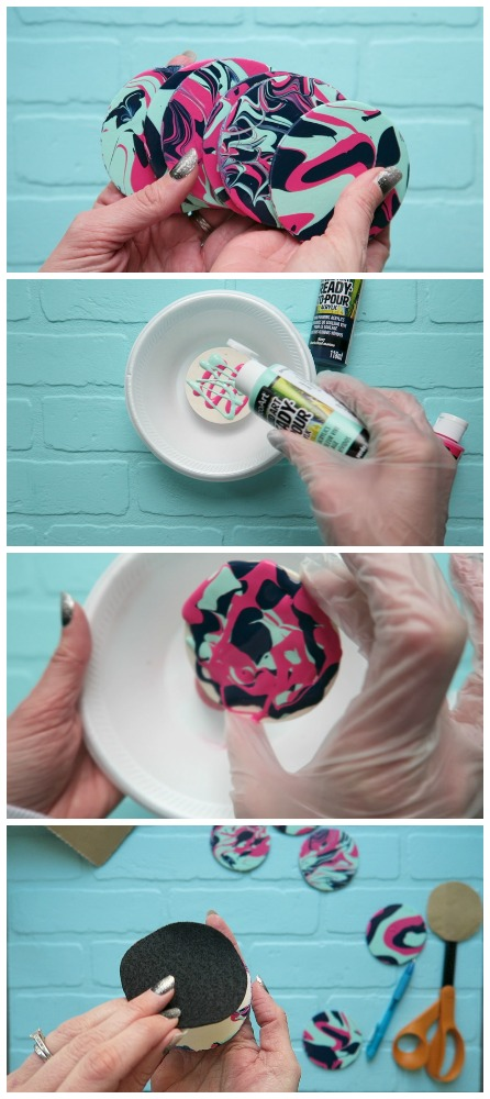 How to easy paint pour coasters idea