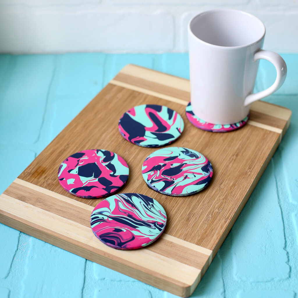 Pour paint project idea coasters 34