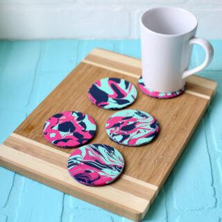 Pour paint project idea coasters 34