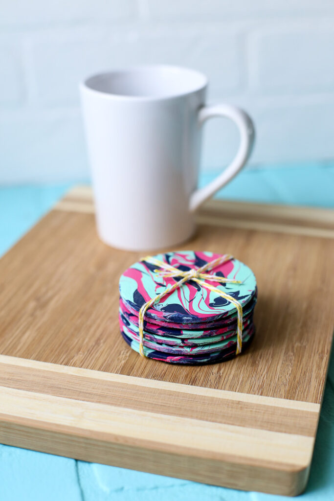 Pour paint project idea coasters 37