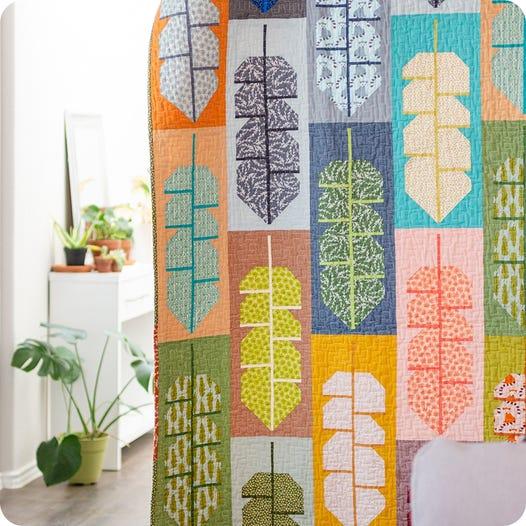 Modern leaf quilt kit