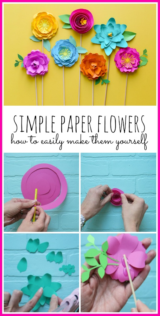 Simple paper flowers diy tutorial craft idea