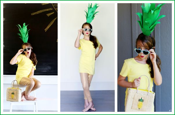 Make your own pineapple costume with things on hand